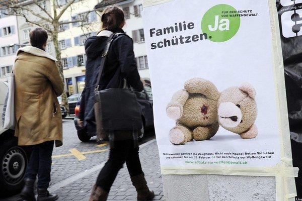 Plagát pred švajčiarskym referendom v roku 2011 o strelných zbraniach.