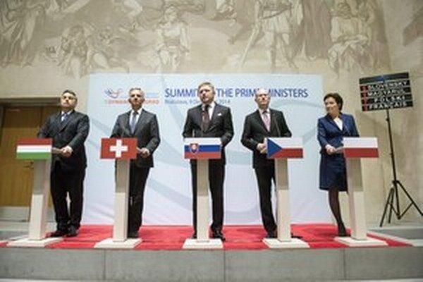 Premiéri krajín V4 a Švajčiarska.
