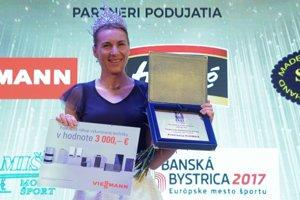 Trojnásobná olympijská víťazka a nová nositeľka titulu Kráľovná biatlonovej stopy Anastasia Kuzminová z VŠC Dukla Banská Bystrica.