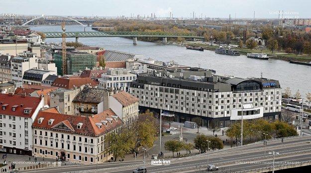 Vizualizácia Hotela Danube s novou fasádou.