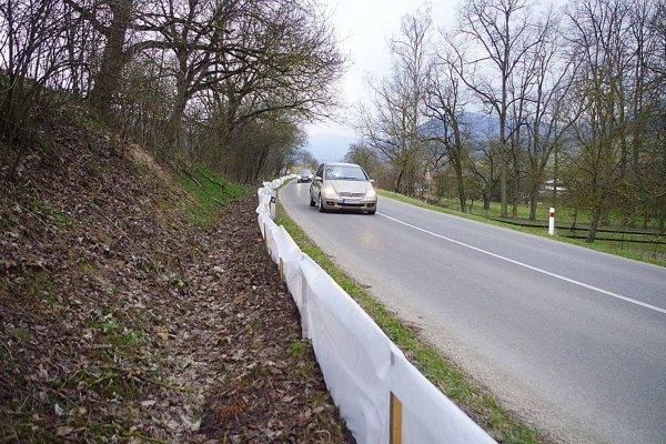 Pri ceste v Dolnom Lieskove je fóliová zábrana, ktorá chráni zvieratá.