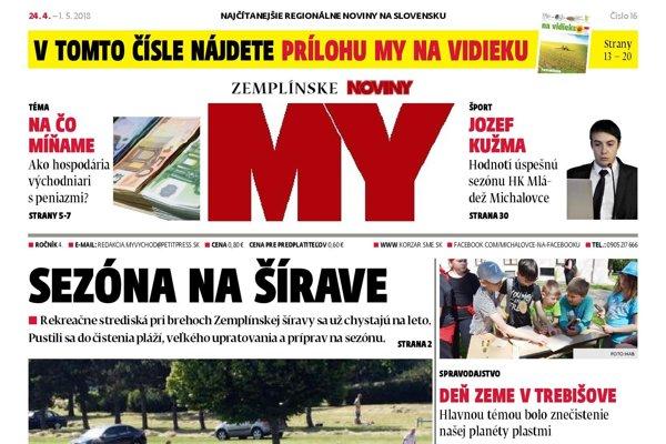 Titulná strana týždenníka MY Zemplínske noviny č. 16/2018.