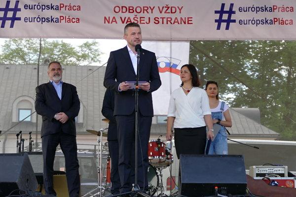 Premiér Peter Pellegrini počas príhovoru na oslavách Sviatku práce pod názvom Spoločný Prvý máj slovenských a českých odborov 2018.