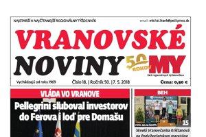 Titulná strana týždenníka Vranovské noviny č. 18/2018.