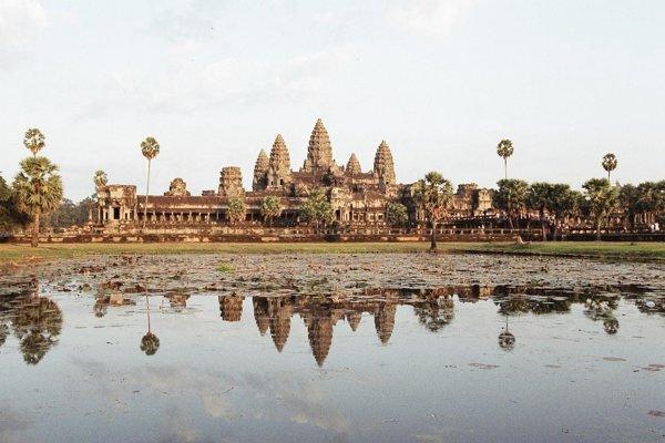 Angkor Wat, najznámejší z chrámov v Kambodži pri meste Siem Reap