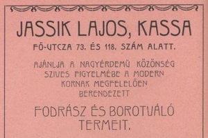 Dobová reklama košického kaderníka a holiča Lajosa Jassika.