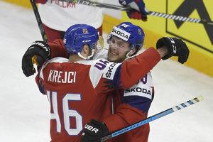David Krejči (vľavo) a Daivd Pastrňák hviezdili proti Rusku.