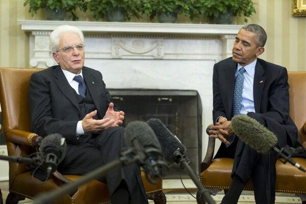Americký prezident Barack Obama s talianskym kolegom Sergiom Mattarellom.