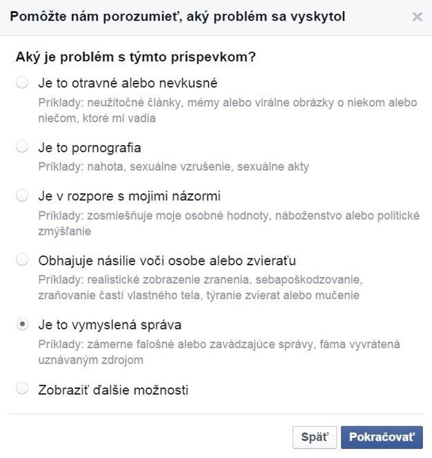 Facebook umožňuje nahlásiť vymyslenú správu.