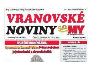 Titulná strana týždenníka Vranovské noviny č. 22/2018.