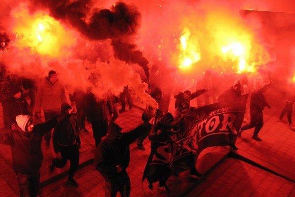 Fanúšikovský pochod centrom Žiliny.