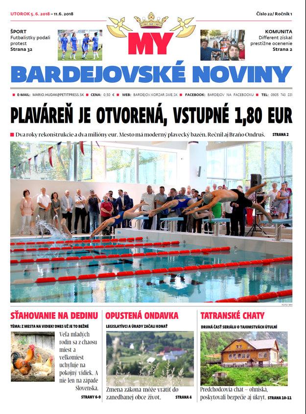 Titulka MY Bardejovské noviny číslo 22.