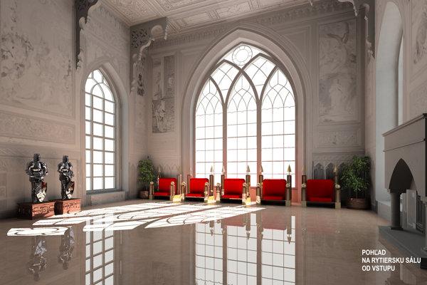 Vizualizácia rytierskej sály (tzv. Červený salón) v interiéri kaštieľa.