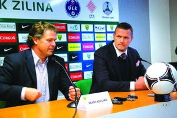 Predstavovanie nového trénera MŠK Fransa Adelaara. Vpravo športový manažér žilinských futbalistov Karol Belaník.