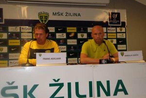Frans Adelaar a Miroslav Barčík na tlačovej konferencii pred úvodným vystúpením MŠK na európskej scéne.