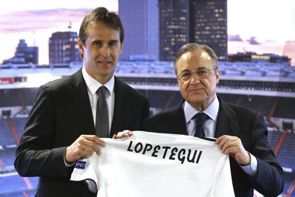Prezident Realu Madrid Florentino Perez (vpravo) a tréner Julen Lopetegui.