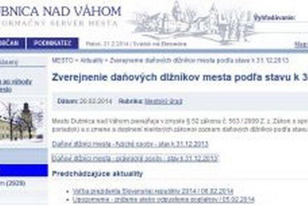 Webová stránky mesta.