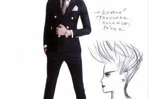 Návrh kostýmu hlavného hrdinu Alexa.