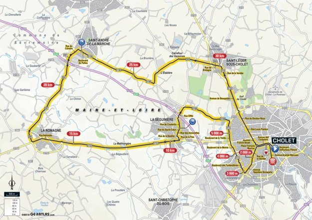 Mapa 3. etapy Tour de France 2018