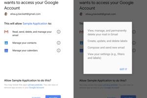 Názorný príklad, keď si aplikácia pýta prístup k vášmu kontu Google.