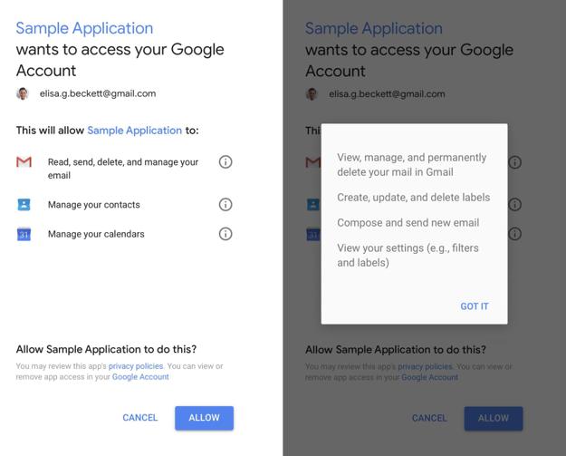 Názorný príklad, keď si aplikácia pýta prístup k vášmu kontu Google. Potvrdenie v tomto prípade znamená, že aplikácia má môže čítať, mazať či spravovať váš email, alebo kontakty či kalendár.