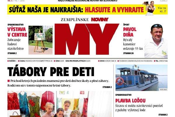3f3379e0f Titulná strana týždenníka MY Zemplínske noviny č. 27/2018.