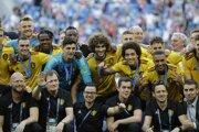 Belgicko oslavuje tretie miesto na MS vo futbale 2018.