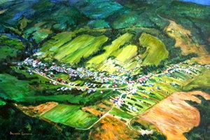 Obraz obce Chmeľová podľa leteckej snímky od ukrajinskej výtvarníčky Svetlany Fedorovej.
