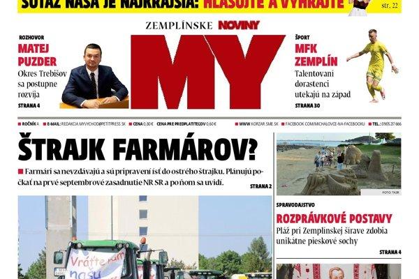 Titulná strana týždenníka MY Zemplínske noviny č. 29/2018.