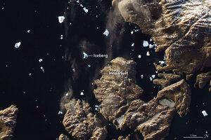 Satelitný záber ľadovca z dňa 5. júla 2018.