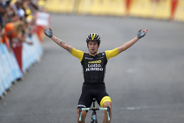 Primož Roglič v cieli 19. etapy na Tour de France 2018.
