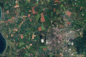 Satelitný záber na dánske mesto Slagelse a okolie z júla minulého roku.