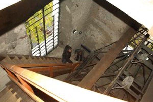 Zrekonštruované schodisko na kostolnú vežu.