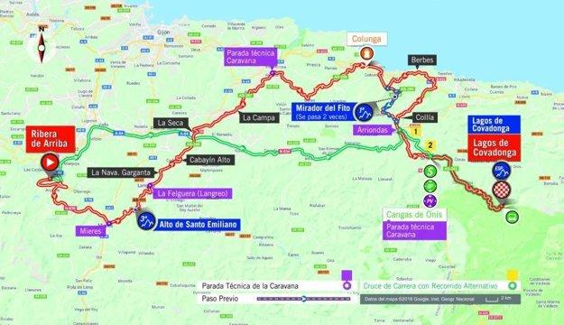 Mapa 15. etapy pretekov Vuelta 2018. (zdroj: lavuelta.es)