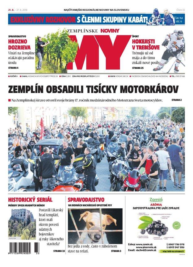 Titulná strana týždenníka MY Zemplínske noviny č. 33/2018.