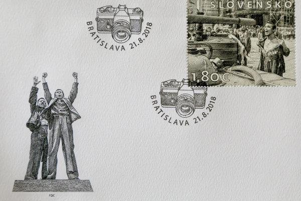 Poštová známka vydaná pri príležitosti 50. výročia Československej okupácie