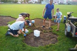 Členovia klubu odstraňujú poškodené trsy trávy a vyberajú z pôdy larvy.
