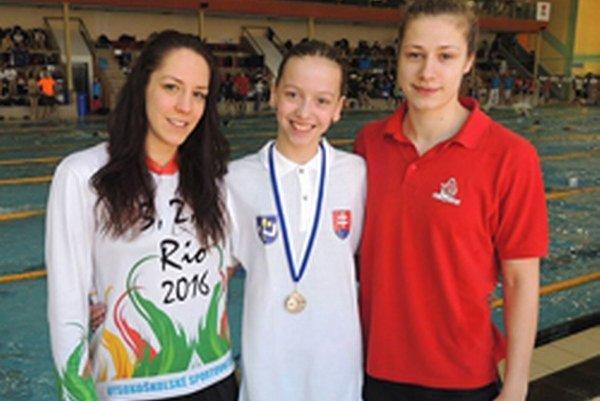 Andrea Podmaníková (vpravo) si v Poprade vyplávali tri cenné kovy.
