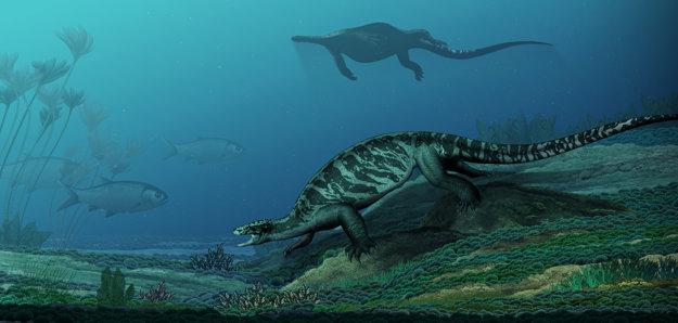 Ilustrácia scény zo života korytnačky Eorhynchochelys.