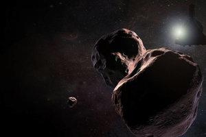 Vizualizácia sondy pri objekte Ultima Thule v Kuiperovom páse.