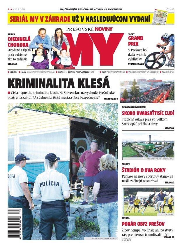 Titulná strana týždenníka MY Prešovské noviny č. 35/2018.