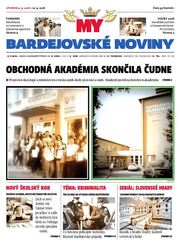 Titulná strana nového vydania týždenníka MY Bardejovské noviny