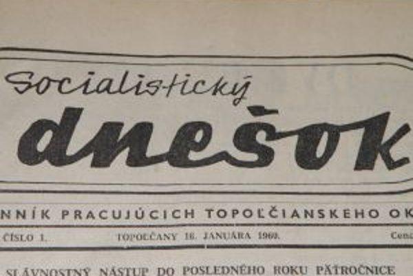 Hlavička prvého čísla Dneška.