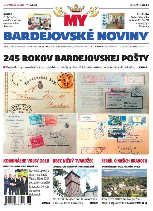 Titulná strana najnovších MY Bardejovských novín č. 36.