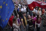 Protivládna demonštrácia v Poľsku.