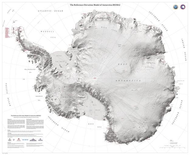 Prvá mapa terénu Antarktídy vo vysokom rozlíšení.