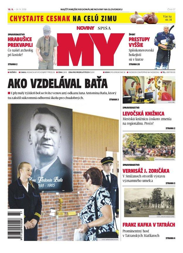 Titulná strana týždenníka MY Noviny Spiša č. 37/2018.
