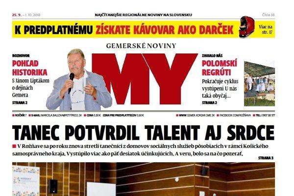 Titulná strana týždenníka MY Gemerské noviny č. 38/2018.