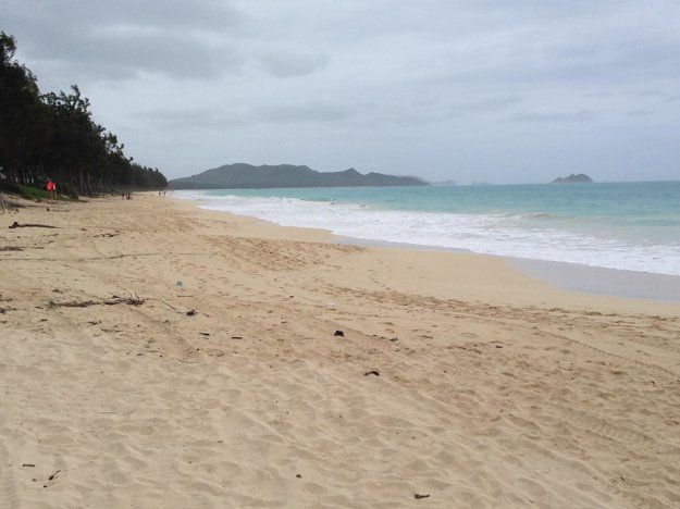 Waimanalo beach za škaredého počasia.