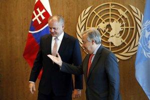 Prezident Slovenskej republiky Andrej Kiska a generálny sekretár OSN Antonio Guterres.